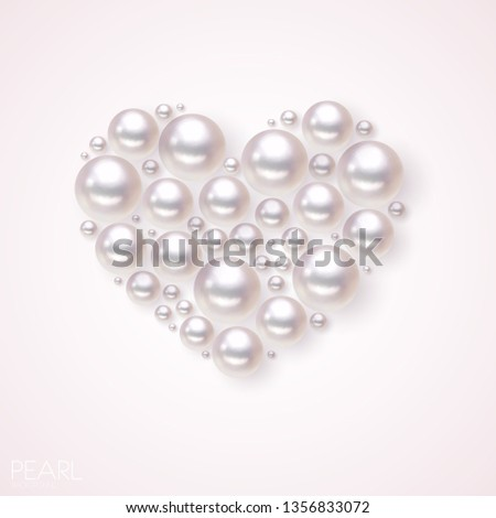 Pearl heart vector background. Romance pattern