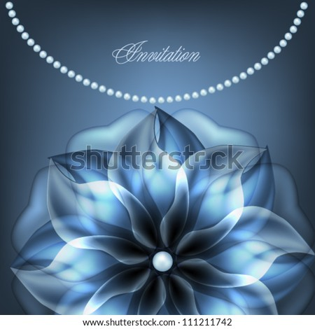 pearl necklace with blue flower