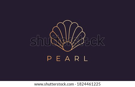 pearl shell logo template with luxury and elegant shape