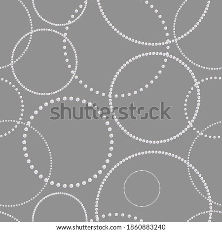 Pearls seamless pattern. Pearl jewelry necklace. Hanging rings. Precious chains. Beauty background design for mother, wedding invitation, gift wrappers, wallpapers, prints. White precious beads. Vector
