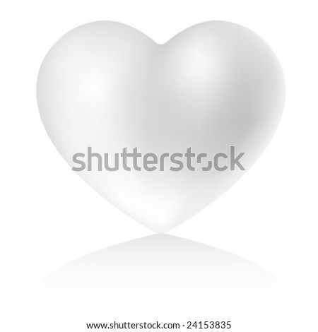 pearly heart on white