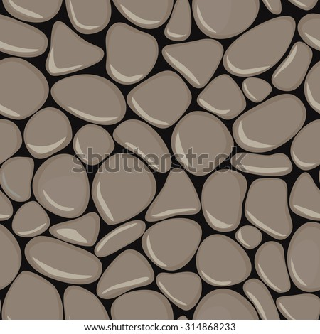 Pebbles seamless pattern. Stone seamless background texture. Grey seaside wet pebble vector illustration. Spa stones.