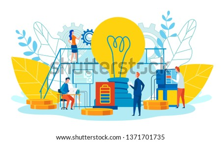Peculiarities and Main Ways Teamwork Cartoon Flat. Men and Women Work Ideas. Foreground is Large Incandescent Lamp. Team Metaphor Progress and Growth. Professional Position and Attitude.