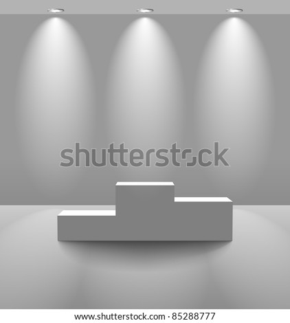 Pedestal in a lightened room