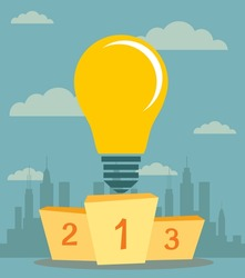 Pedestal with a light bulb in the first place symbolizing the power of the idea. Best podium place for inventions vector illustration