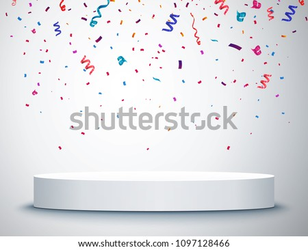 Pedestal with colorful confetti isolated on grey background. Vector illustration. Round podium. Winner concept Photo stock ©