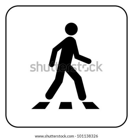 Pedestrian crossing - crosswalk flat icon symbol. Isolated on white, vector