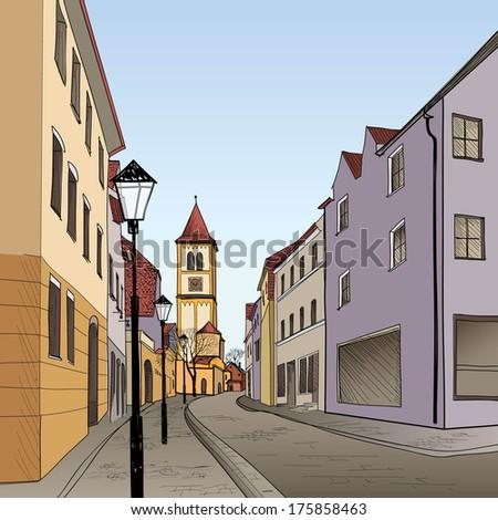 pedestrian street in the old...