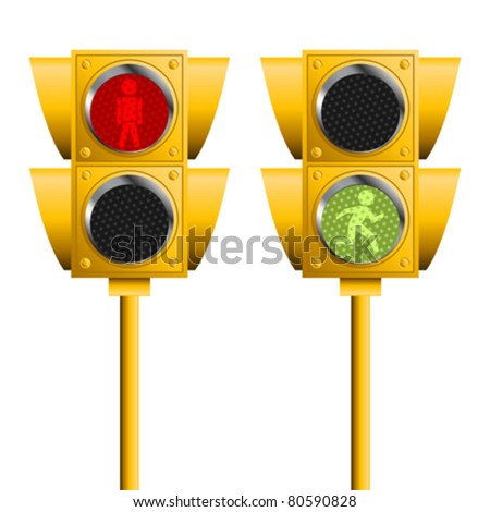 Pedestrian traffic lights isolated over white background