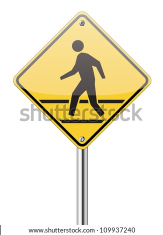 pedestrian yellow traffic sign on white