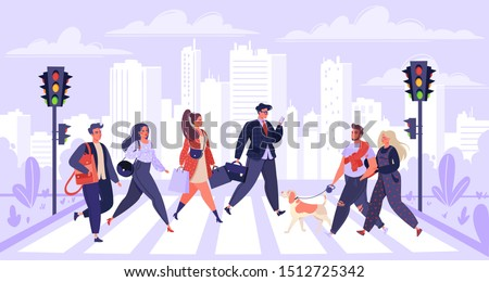Pedestrians, сartoon flat people characters walking on city street. Men and women citizen hurry on urban background with skyscrapers, traffic lights and crosswalk.  People moving by road.