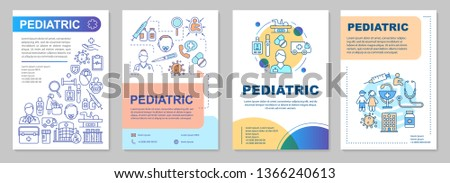 Pediatric brochure template layout. Services, medical assistance. Flyer, booklet, leaflet print design with linear illustrations. Vector page layouts for magazines, annual reports, advertising posters
