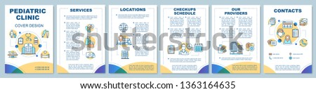 Pediatric clinic brochure template layout. Services, location, checkup schedule. Flyer, booklet, leaflet print design with linear icons. Vector page layouts for magazines, reports, advertising posters