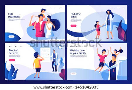 Pediatric clinic concept. Mom sick child doctor in hospital family health checking pediatric children healthcare vector landing page. Check health child, doctor clinic ophthalmologist illustration