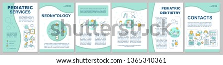 Pediatric services brochure template layout. Pediatrics, after hours. Flyer, booklet, leaflet print design with linear illustrations. Vector page layouts for magazines, reports, advertising posters