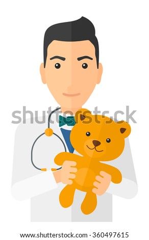 pediatrician holding teddy bear