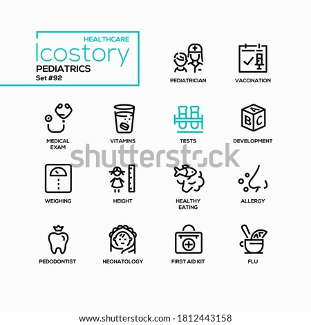 Pediatrics - vector line design style icons set. Children healthcare, development idea. Pediatrician, pedodontist and neonatology. Vaccination, medical exam, allergy, weighing, height, healthy eating Photo stock ©