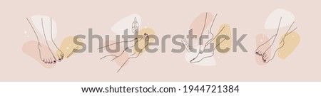 Pedicure spa female feet. Nail polish and nail file. Linear vector Illustration of elegant woman legs in a trendy minimalist style. Beauty logo for nail studio, beauty center or spa salon.