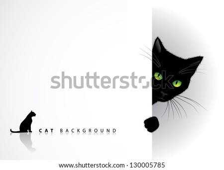 peeking cat background eps 8