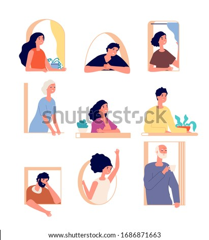 Peeking people. Man looking out window. Isolated female peek because of curtain. People neighbors. Young suspicious face vector illustration
