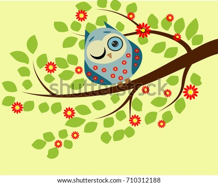 peeping a blue owl in red