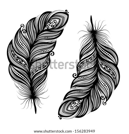 Peerless Decorative Feather Vector Patterned design Tattoo