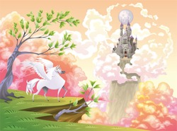 Pegasus and mythological landscape. Cartoon and vector illustration, objects isolated .