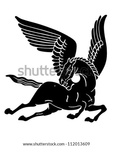 Pegasus Horse Silhouette - Retro Clipart Illustration