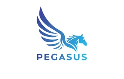 Pegasus Logo, Flying Horse logo, Winged Horse logo Template Design, Sky Horse with simple gradient, For Transportation, Shipping or travel agency, Vector Eps File
