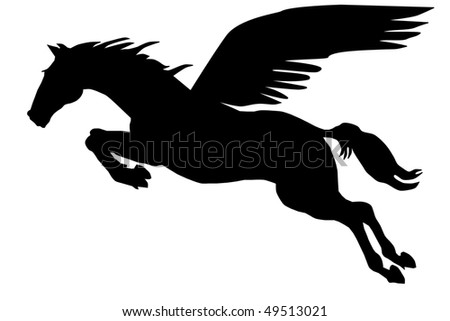 Pegasus silhouette on the white background