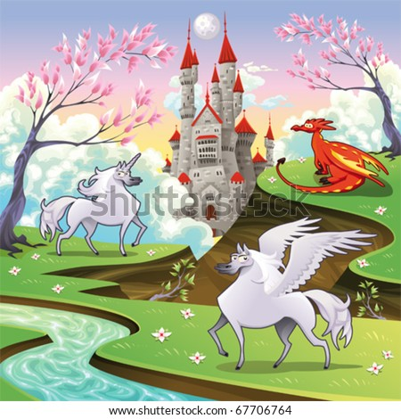 Pegasus, unicorn and dragon in a mythological landscape. Cartoon and vector illustration, objects isolated .