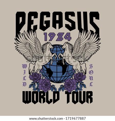 pegasus with globe and rose