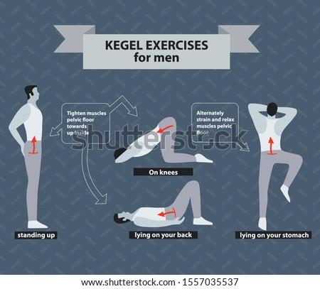 Pelvic floor exercises for men.  Kegel gymnastics illustrarion on grey background. Man's health concept.