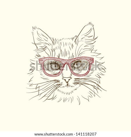 Pen and ink illustration of cool cat in red sun glasses - stock vector