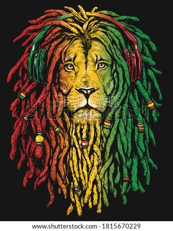 Pen and inked Rastafarian Lion digital illustration on black background.  Stock foto ©