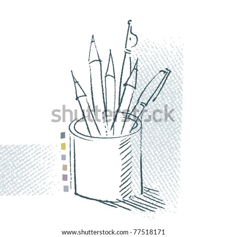 pen and pencils in a can, freehand drawing, artistic vector background