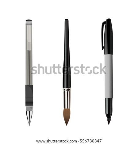 pen  brush  marker isolated on