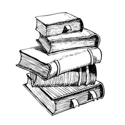 pen drawing a pile of books