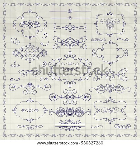 Pen Drawing Sketched Decorative Vintage Design Elements. Frames, Text Frames, Dividers, Swirls, Borders, Banners on Crumpled Paper Texture. Vector Illustration