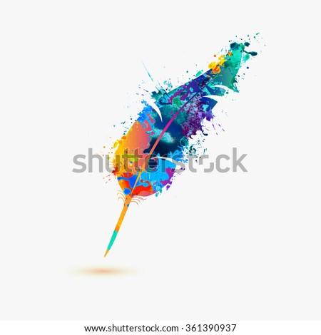 pen feather. Rainbow splash paint
