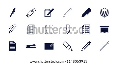Pen icon. collection of 18 pen filled and outline icons such as document, notebook, stapler, feather, paper. editable pen icons for web and mobile.