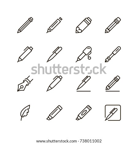 Pen icon set. Collection of high quality outline pencil pictograms in modern flat style. Black writing symbol for web design and mobile app on white background. Drawing line logo.