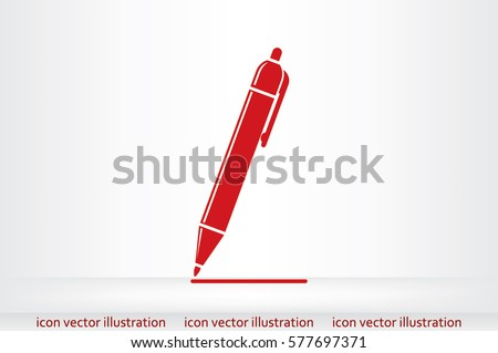 pen icon vector EPS 10, abstract sign to draw a line flat design, emphasize illustration modern isolated badge.