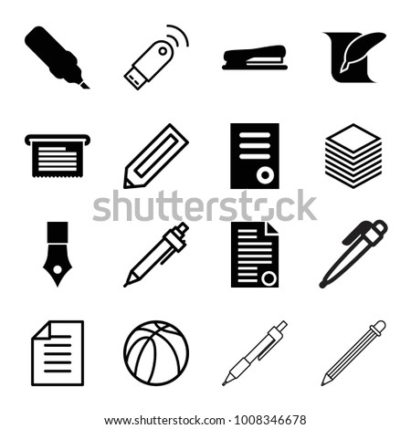 Pen icons. set of 16 editable filled and outline pen icons such as document, pen, stapler, basketball, paper, usb signal