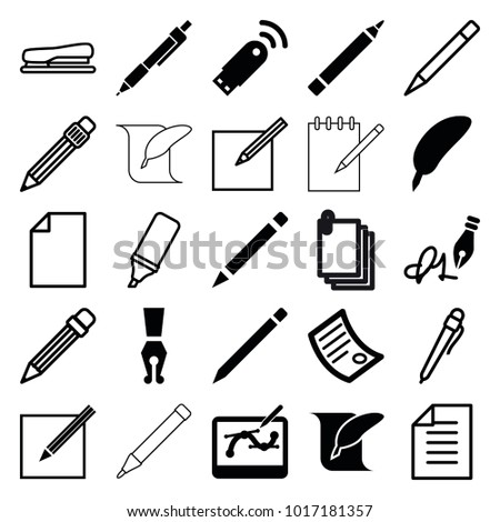 Pen icons. set of 25 editable filled and outline pen icons such as pen, feather, document, usb signal, paper, highlighter, stapler, feather and paper