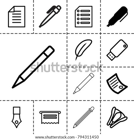 Pen icons. set of 13 editable outline pen icons such as document, feather, stapler, paper