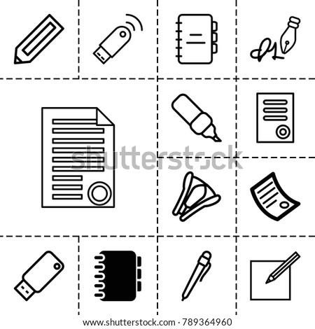 Pen icons. set of 13 editable outline pen icons such as document, notebook, pencil, stapler, usb drive