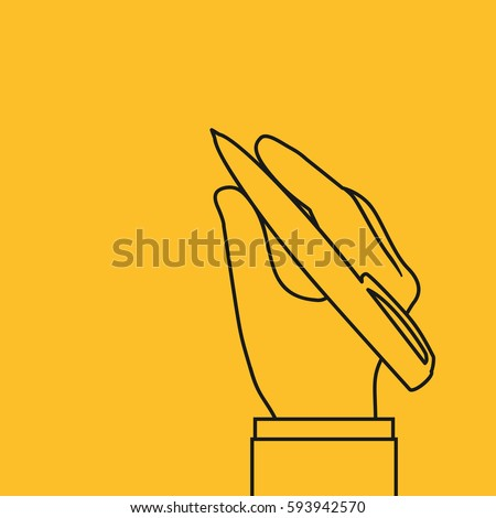 Pen in hand, line icon symbol. Man holding a pencil. Vector illustration, flat design. Writing template. Black silhouettes isolated on yellow background. Pictogram outline.