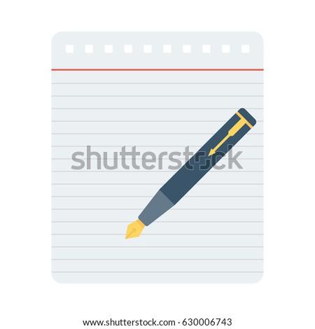 Pen Paper Vector Flat Icon #630006743