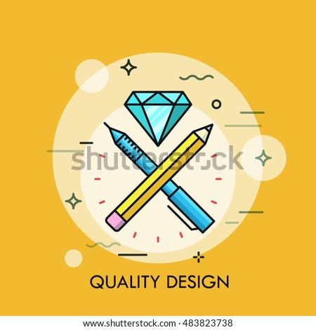 Pen, pencil and dimond flat design thin line banner. Modern style logo vector illustration concept.
